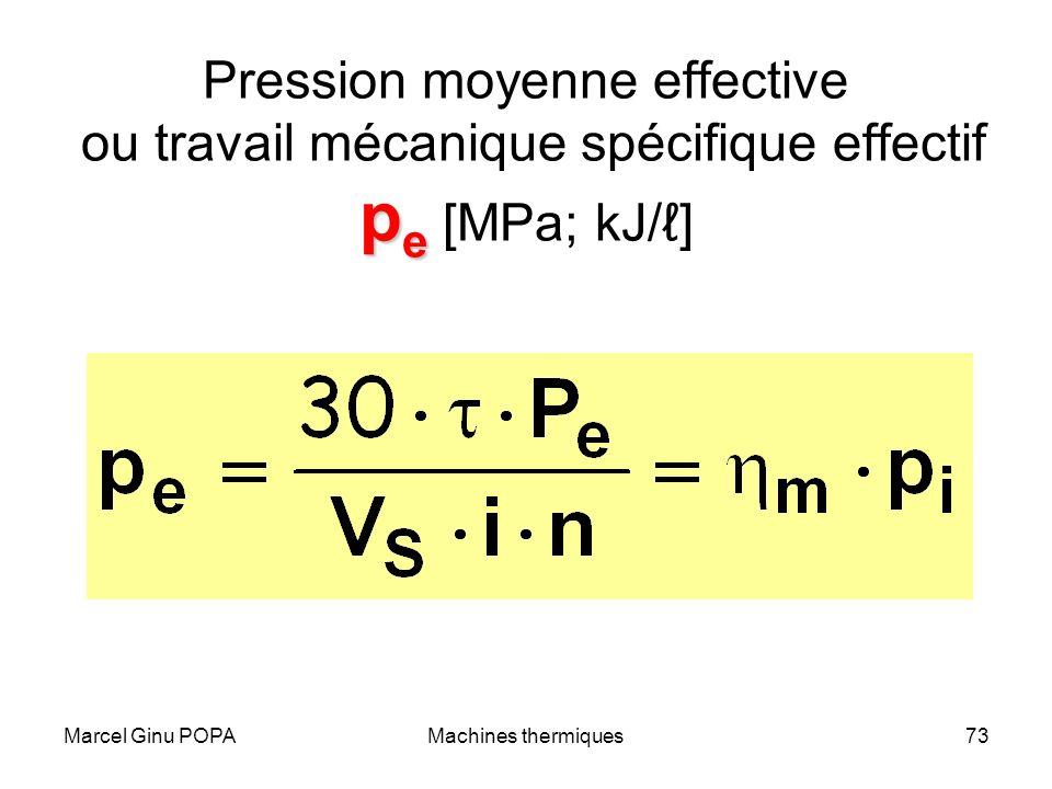 Pression moyenne effective ou travail mécanique spécifique effectif pe [MPa; kJ/ℓ]